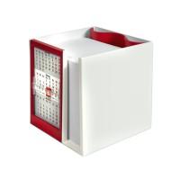 Календарь настольный  на 2 года с кубариком; белый с красным; 11х10х10 см; пластик; шелкография
