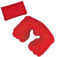 Подушка надувная дорожная в футляре; красный; 43