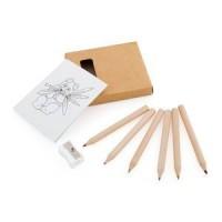 Набор цветных карандашей с раскрасками и точилкой