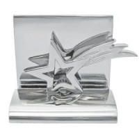 Подставка для визиток Звезда; 5х4.5х3.5 см; металл; лазерная гравировка