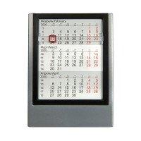 Календарь настольный на 2 года; серебристый с черным; 12
