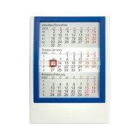 Календарь настольный на 2 года; белый с синим; 12