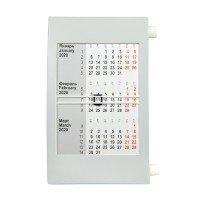 Календарь настольный на 2 года; серый с белым ; 18х11 см; пластик; шелкография