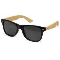 Солнцезащитные очки с бамбуковыми дужками в сером чехле